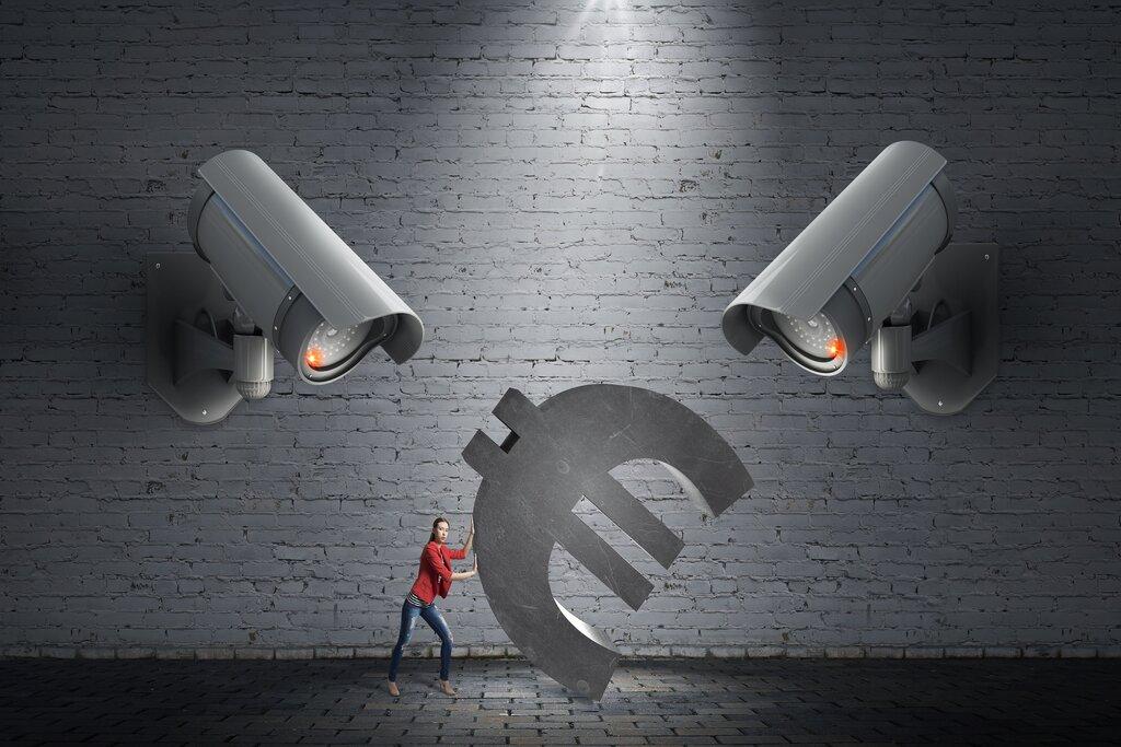 Cameras, guarding money.