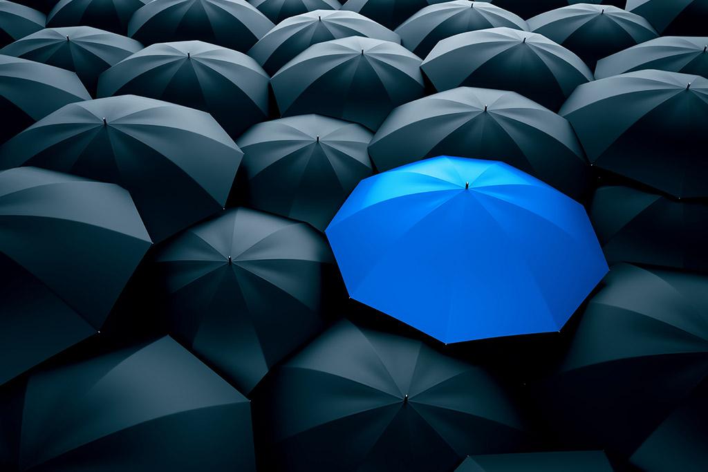 Blue umbrella in between many black umbrellas.
