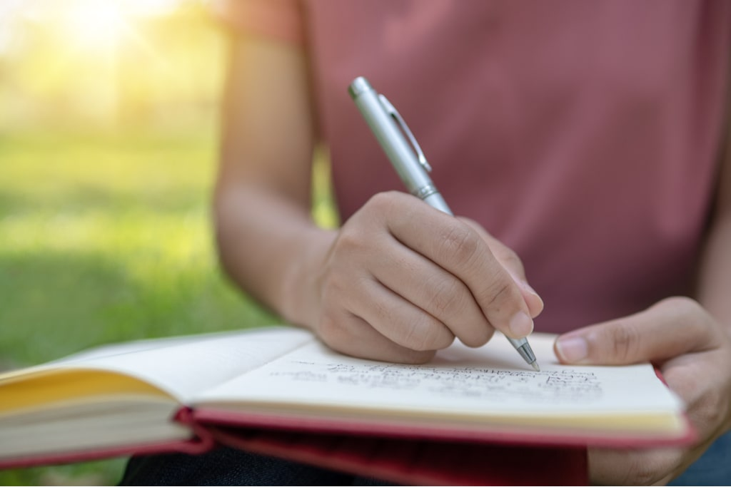 Writing a poem.